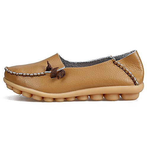 LINGTOM Women's Casual Flat Genuine Loafers Driving Moccasins Shoes Khaki 4KMjFVi3