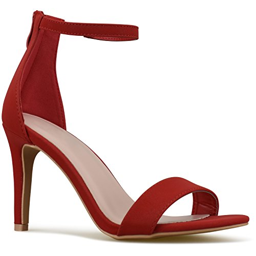 Premier Standard Women's Strappy Kitten High Heel - Formal, Wedding, Party Simple Classic Pump, TPS Heels-1Naols Red Size 7