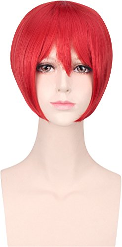 Costume Wig for Women Short Straight Bob,Synthetic Hair Cosplay Wigs with Cap 20 Colors (Bright (Bright Red Hair Costumes)