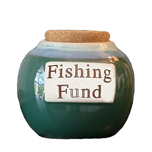 Cottage Creek - Fishing Fund - Colorful Round Ceramic Coin Bank Jar with Black Lid - Gifts for Men - Fishing Gifts - Fishing Lure Piggy Bank