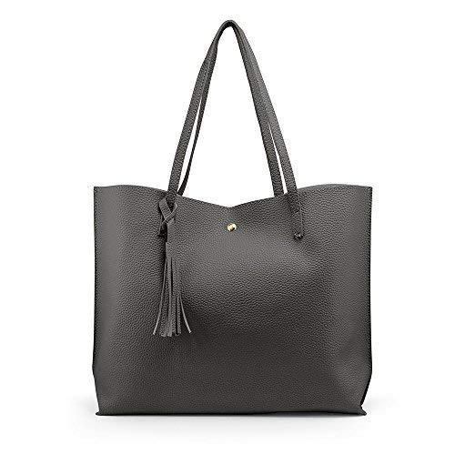 OCT17 Women Tote Bag - Tassels Faux Leather Shoulder Handbags, Fashion Ladies Purses Satchel Messenger Bags (Dark Gray) by OCT17 (Image #2)
