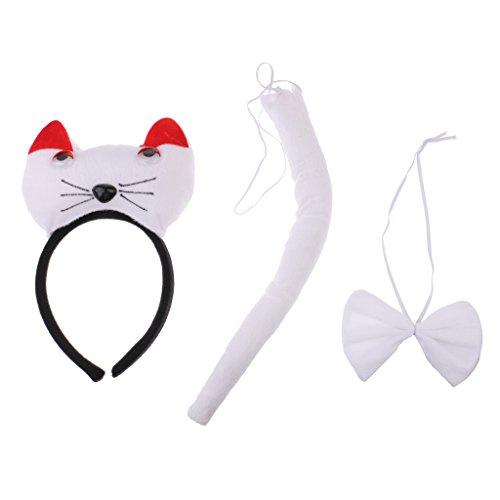Baoblaze 3/Set Kids Pig Panda Cat Costume Accessory Set Cat Ears Headband Bowtie Tail Set - White, as described ()