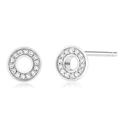 10K White Gold Round Single Cut White Diamond Circle Stud Earrings (0.042 cttw, I-J Color, I1-I2 (White Diamond Circle Ring)