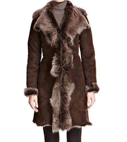 to invierno e de Con largo Suede oveja Marron 3 piel Argent Z A 4 Vesterable Abrigo de mujer cuero para de 8wRdRZ