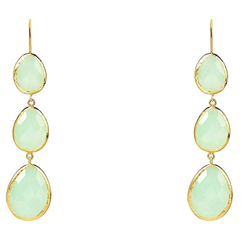 Gold Triple Drop Earring Aqua Chalcedony