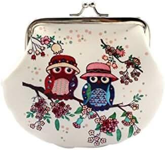 Small Wallet,Hemlock Women Vintage Owl Hand Bag Retro Lady Clutch Purse (B)