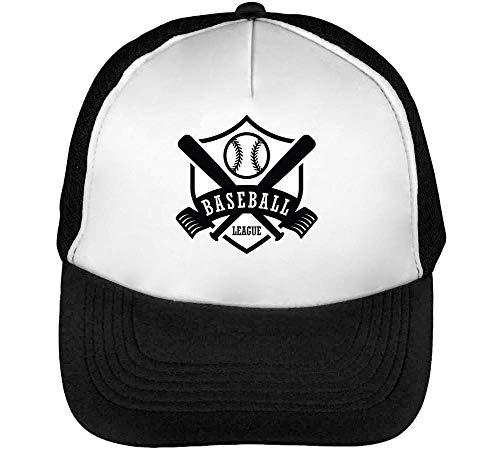 Baseball Hombre Badge Snapback Gorras Sport Beisbol League Negro Blanco Iw5qvFFOA