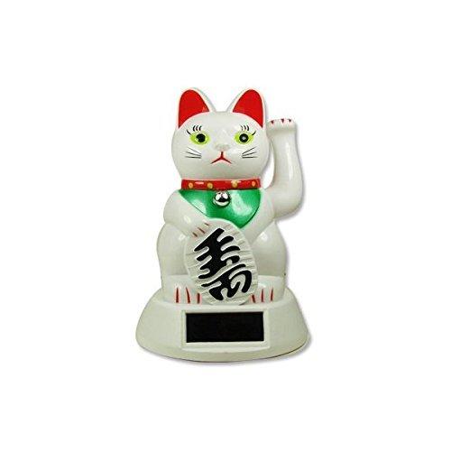 Japanese Maneki Neko Fortune Cat Lucky Cat White Solar Powered (White Lucky Cat)