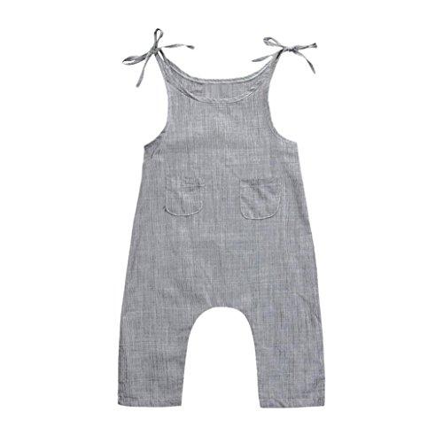 Winsummer Toddler Infant Boys Girls Linen Sleeveless Braces Strap Romper Jumpsuit Pant Coveralls Summer Clothes (Gray, 24M)