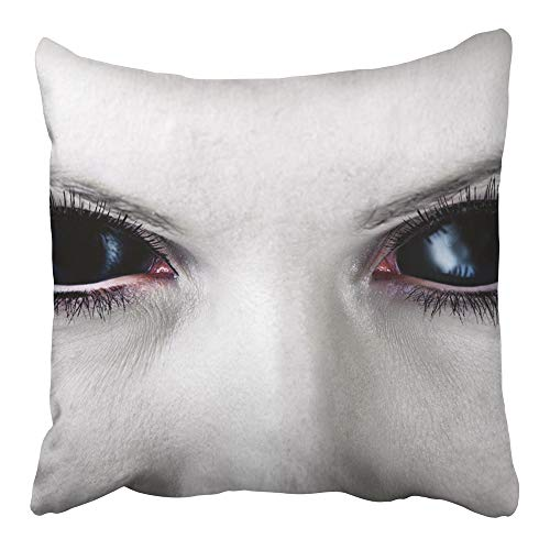 Emvency Throw Pillow Cover Cases Two-Side Print Decor Design Square Set Cushion Case Covers Evil Black Female Alien Vampire Zombie Eyes Dirt Make Up Macro Halloween 20 x 20 Inch -