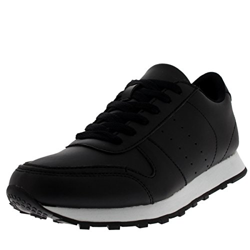 Mens Fitness Casual Work Out Low Top Flat Lace Up Athletic Gym Sneakers Black/White 5dycdQ9b0g