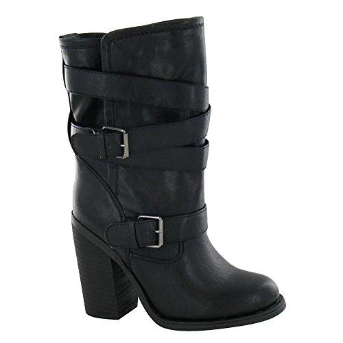 Spot On Damen Stiefel mit Schnallen und Absatz Schwarz
