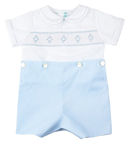Feltman Brothers Christening - Feltman Brothers Blue White Smocked Bobbie Suit Boys Christening Outfit 9M