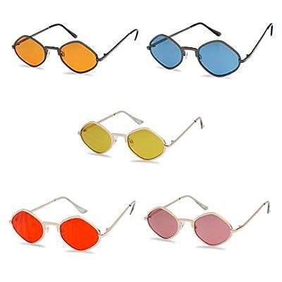 Full Metal Geometric Diamond Shaped Candy Color Tint Flat Lens Designer Inspired Sun Glasses