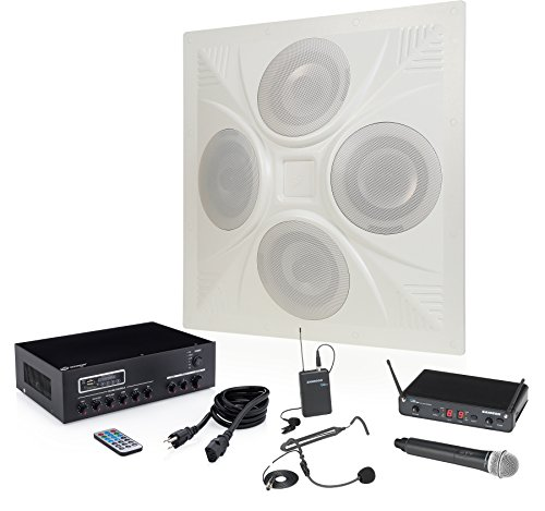 - Pure Resonance Audio SD4 Ceiling Speaker Bundle with MA30BT Bluetooth Mixer Amplifier, Samson Concert 288 All-In-One Dual Channel Wireless System and Accessories - Classroom Sound System (5 Items)
