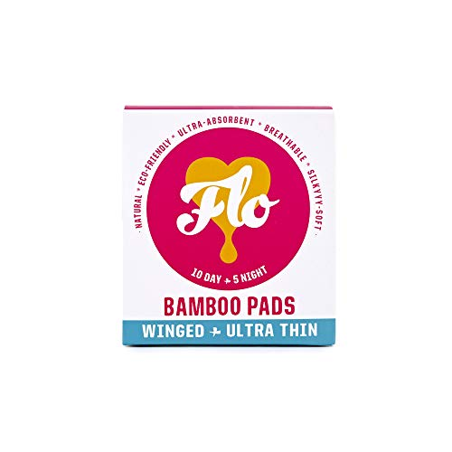Ultra Thin Winged Pads - Here We Flo Natural Bamboo Pads Winged Ultra Thin 10 Day & 5 Night Pads (Pack of 3, 45 Total Pads)