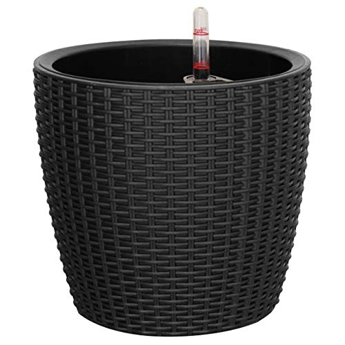 TABOR TOOLS Self-Watering Planter 11 Inch, Modern Decorative Pot for Outdoor or Indoor Garden, Elegant Plastic Wicker Rattan Look, Suitable for Plants & Flowers. TB504A. (11 Inch, Black) (Large Decorative Outdoor Pots)