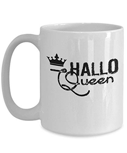 Lplpol Hallo Queen Mug Funny Halloween White Coffee Cup for Her -