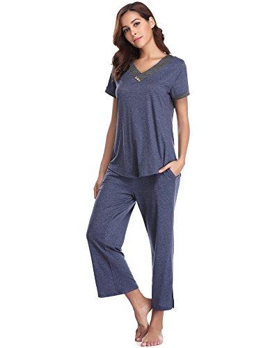 Haut Bleu Gamme Doux Coton Femme Pyjashort Aibrou De En Pyjama Ensemble 1 Navy wqFHfH