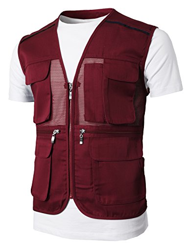 H2H Men's Outdoor Multifunction Multi-pocket Mesh Fishing Vest Of Line Point PURPLE US 2XL/Asia 3XL (KMOV0146) Purple Mesh Vest