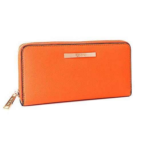Womens Wallet Long Soft Leather Clutch Card Holder Zipper Purse(Orange) - Logo Clutch Wallet