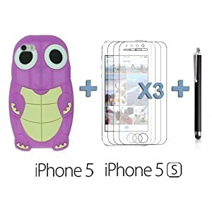 OnlineBestDigital - Transparent Case with White Outlet for For Iphone 6 Cover - Orange with 3 Screen Protectors and Stylus