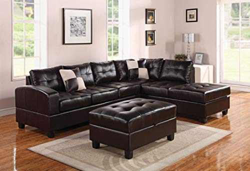 ACME Lyssa White Bonded Leather Sectional Sofa with Reversible Chaise and Ottoman