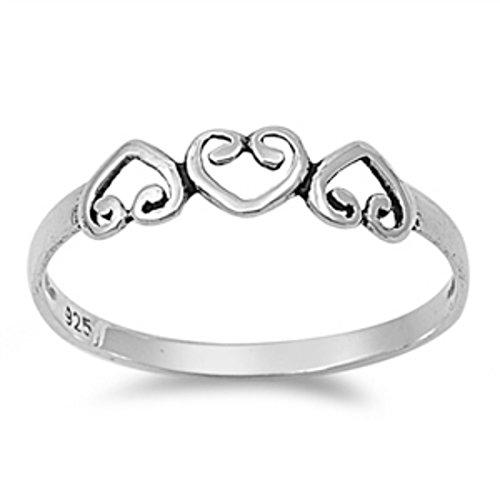 Blue Apple Co. Triple Heart 3 Heart Promise Ring Band 925 Sterling Silver Petite Dainty 3-10