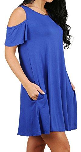 Alaroo Tunique Des Femmes T-shirt Casual Robe Lâche Avec Poches S-02-xl Bleu Royal