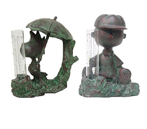 Homestyles #51509 Charlie Brown and Woodstock Rain Gauge Bronze Patina Figurines from The Snoopy Peanuts Garden Statue Collection ()
