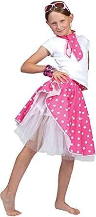 Falda rock n roll para disfraz de niña  color rosa