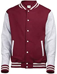 Unisex Varsity Jacket Large Burgundy / Heather Grey