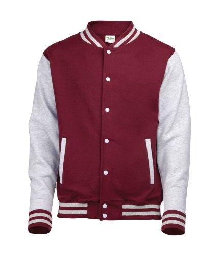 (Awdis Unisex Varsity Jacket Large Burgundy/Heather Grey)