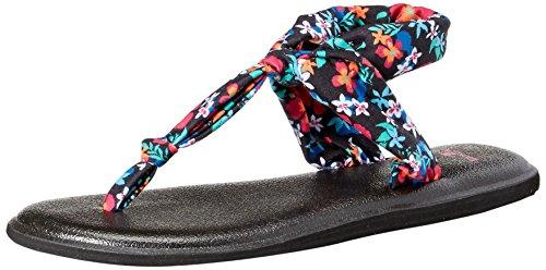 Sanuk Women's Yoga Sling Ella Prints Flip Flop, Black Waikiki Floral, 8 M US