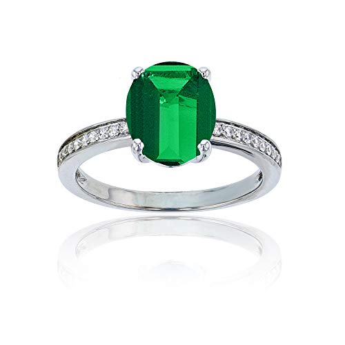 Sterling Silver Rhodium 1mm Round Created White Sapphire Channel Set & 10x8 Oval Created Emerald Engagement Ring - Sterling 10 X 8 Emerald