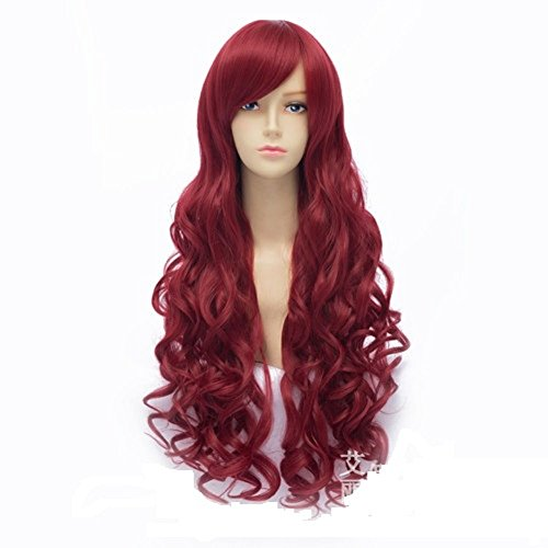Mainlead Long Big Wavy Dark Wine Red Hair Women Heat Resistant Fiber Wig Party Cosplay