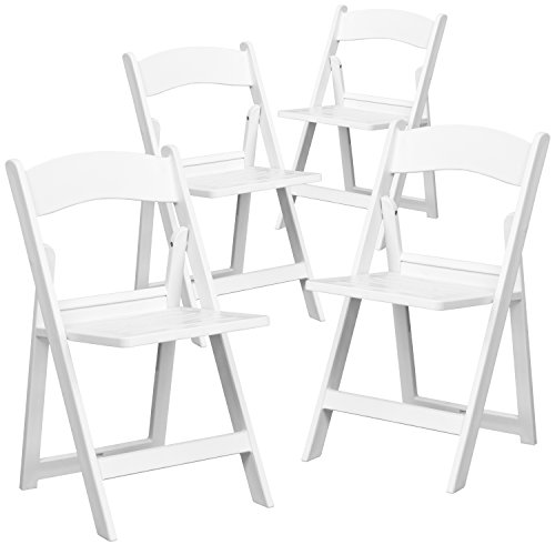 Flash Furniture 4 Pk. HERCULES Series 1000 lb. Capacity White Resin Folding Chair with Slatted (Resin Outdoor Chair)