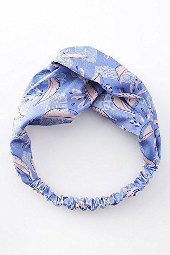 Unique Tropical Banana Leaf Printing Wide-Brimmed Cloth Hair Band Rabbit Ears Cross Bow Hair Band Hair Accessories Holiday high Spirit Ornaments (Blue (Cross-Section)