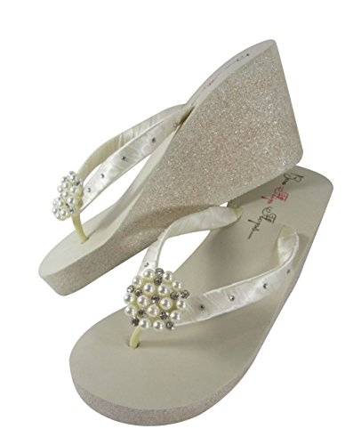 cfdbdb998996f Amazon.com: Pearl with Crystal Rhinestone Accented Ivory Wedge Flip ...