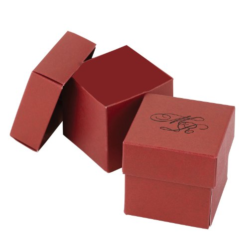 Hortense B. Hewitt Wedding Accessories 2-Piece Favor Boxes, Red Claret, Pack of 25