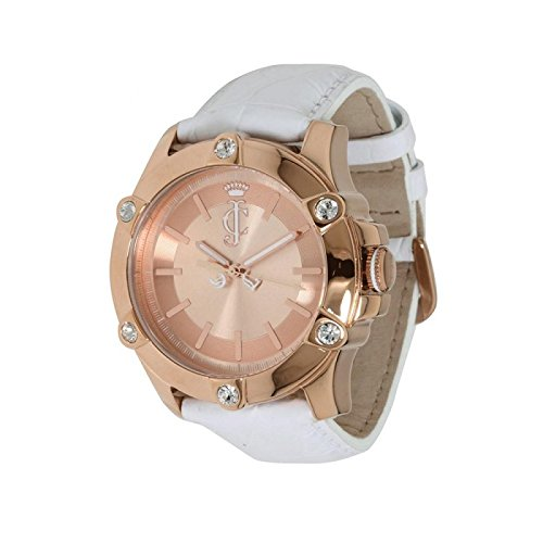Leather White Couture Juicy - Juicy Couture Women's 1900939 Surfside Rose Gold Case White Leather Strap Watch