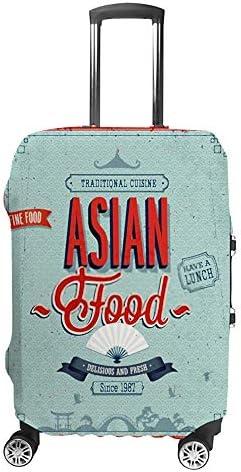 スーツケースカバー トラベルケース 荷物カバー 弾性素材 傷を防ぐ ほこりや汚れを防ぐ 個性 出張 男性と女性レトロな寿司ポスター