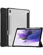 Capa para Galaxy Tab S7 FE 12,5 polegadas 2021, capa inteligente UZER ultra de couro PU hibernar/despertar automático, suporte de três dobras com capa traseira de TPU acrílico transparente para Samsung Galaxy Tab S7 FE 12,5 polegadas (SM-T730/T736)