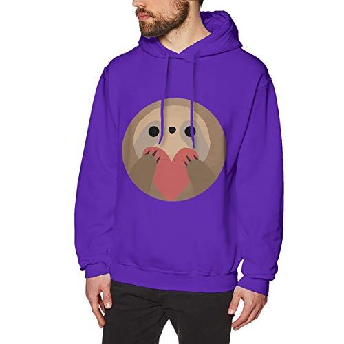 (Onge George St Sloth Heart Printed Drawstring Pullover Men's/Boys Hoodies Drawstring Closure/Pullover Hoodie/Hoodie/Sweater/Sweatshirt S Purple)