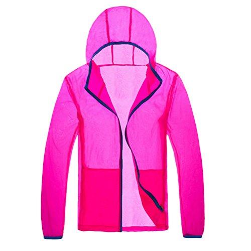 Zhhlaixing Unisex Lightweight Waterproof Rainproof Anti-UV Jacket Rose Red