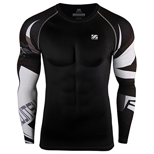 - zipravs MMA Compression Tight Shirt Longsleeve Running Baselayer Rash Guard Crew