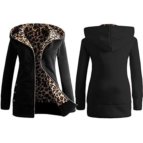 Capucha Chaquetas De Mujer Para Con Cardigan Modaworld Sudaderas Y Negro ❤️ Abrigo Leopardo Cremallera Suéter Windbreaker Señoras gqIwPP4x