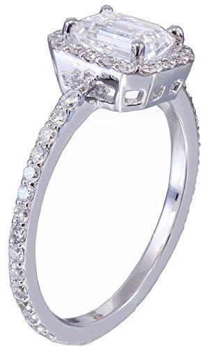 14k white gold emerald cut diamond engagement ring halo 1.50ct I-VS2 EGL US Cert
