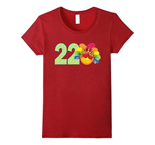Womens 22 Year Old Emoji 22nd Birthday TShirt Small (Red Dress Lady Emoji Costume)