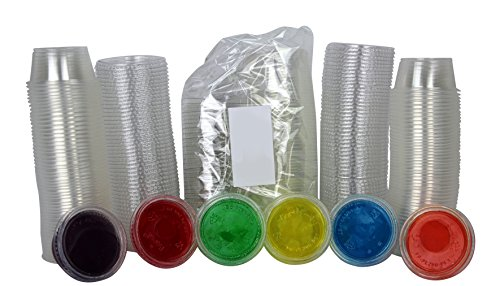 Disposable 2oz Plastic Condiment Cups with Lids, Souffle Portion, Jello Shot Cups, Salad Dressing, Sauce (50, Clear)